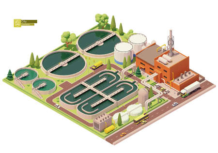 Vector low poly water treatment plant Ilustracja