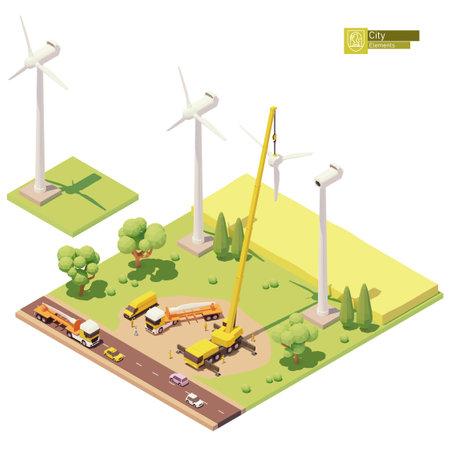Vector low poly wind turbines farm construction 免版税图像 - 162054327