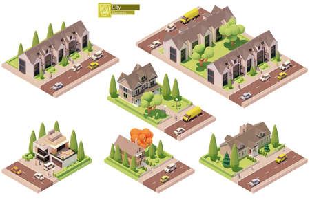 Vector isometric buildings, suburban houses