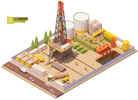 Vector isometric oil and gas land drilling rig