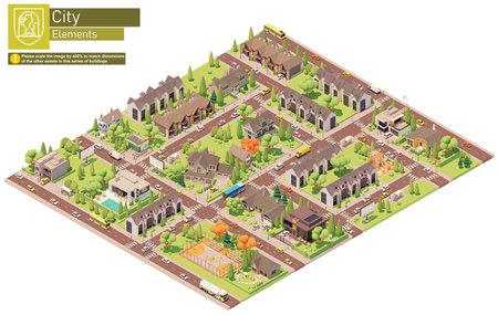 Vector isometric city suburban area block 免版税图像