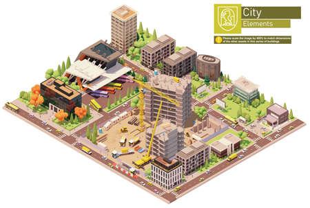 Vector isometric city block with construction site