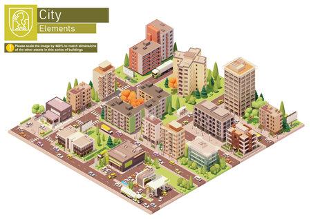 Vector isometric city block with supermarket