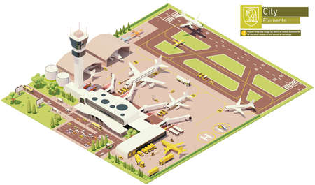 Vector isometric airport terminal