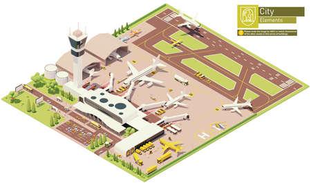 Vector isometric airport terminal