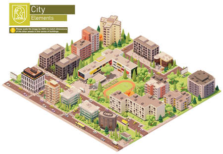 Vector isometric city or town block with school building. Buildings, houses, homes and offices. People and transport on the streets.