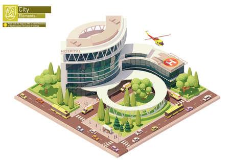 Vector isometric hospital building 矢量图像