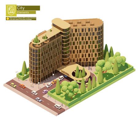 Vector isometric hotel building 矢量图像