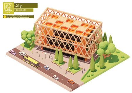 Vector isometric modern office building