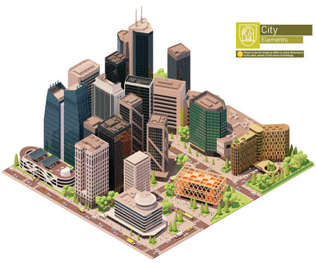 Vector isometric city downtown. Central business district of the city. City center includes skyscrapers, buildings, offices, multistorey car park, hotel, bus stop. People and transport on the streets.