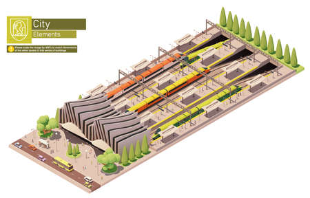 Vector isometric high-speed train station Zdjęcie Seryjne - 166466890