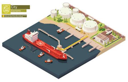 Vector oil depot and oil tanker ship bunkering Ilustracja
