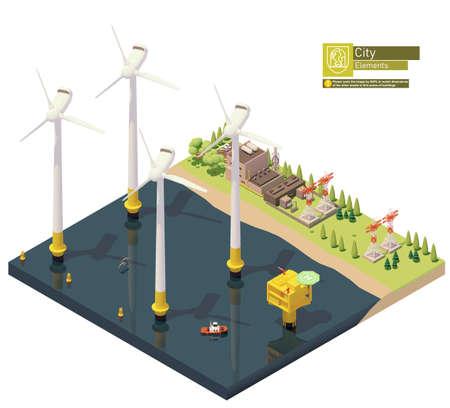 Vector isometric offshore wind farm