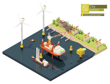 Vector isometric offshore wind farm construction Zdjęcie Seryjne - 166157485