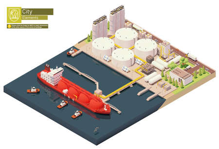 Vector isometric LNG carrier ship bunkering in LNG terminal Zdjęcie Seryjne - 166356414