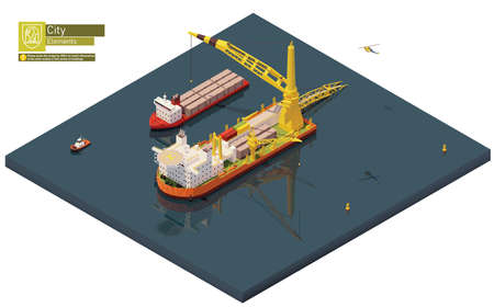 Vector isometric pipe laying vessel, pipe lay ship Ilustracja