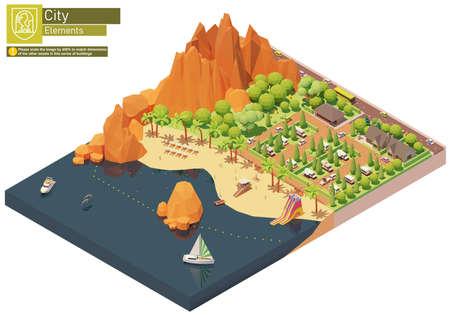 Vector isometric caravan trailer park on the beach Ilustração Vetorial