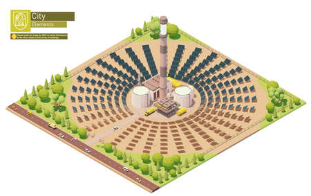Vector isometric concentrated solar power plant Vektoros illusztráció