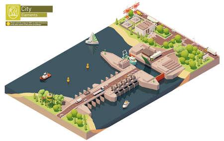 Vector isometric tidal power plant Vektorové ilustrace