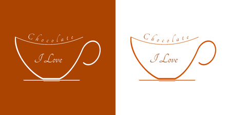 Two cups of hot chocolate. Graphics on white and brown background and text: I love chocolate.
