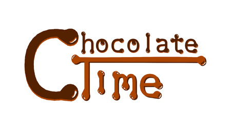 Chcolate time - brown text with big first letter. Graphics for the website, advertising banner, poster.
