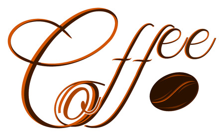 Text with a coffee bean. Big first letter. Decorative brown text. Graphics for banner, website, advertisement, poster.