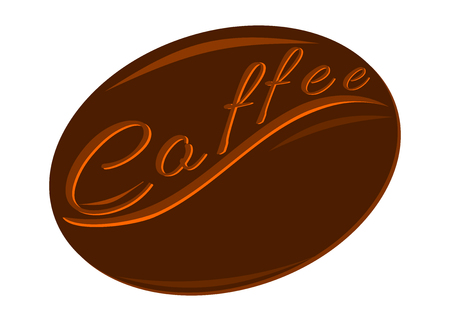 A coffee bean. Text on a brown background. Decorative letters on the background of coffee beans.