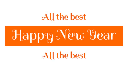 Happy New Year wishes made of a white and orange letters. Graphics for a banner, a website, an advertisement, a poster, a greeting card. 일러스트