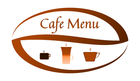 Graphics for a restaurant menu, cafeteria menu, or a website, an advertising banner, a poster. Big coffee bean and icons: an espresso cup, a cup of black coffee and a glass of latte. Foto de archivo - 112994907