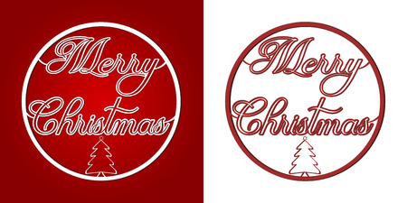 Merry Christmas wishes. Graphics in the shape of a Christmas baubles. Red letters on a white background. Text in a circle. Christmas tree below the text. 向量圖像