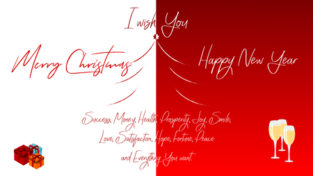 Greetings card Merry Christmas and Happy New Year. Graphics divided in half.