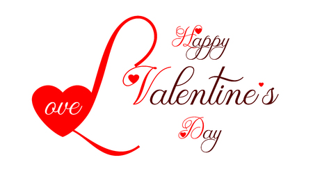 Graphics for Valentines Day. Large first letter. Decorative text. Graphics for the website or greeting card.