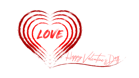 Graphics for Valentine's Day. A few hearts painted with a brush. A big word in the smallest heart: Love. Graphics on a white background.
