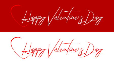 Graphics for Valentines Day. White and red text inscribed in the middle of the heart. Graphics for a poster, a website or a greeting card.