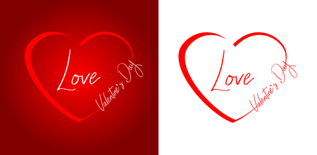 Graphics for Valentines Day. A red heart with the words: Love. Text inscribed in the contour of the heart. Graphics on white and red background. Graphics for a greeting card. Ilustração