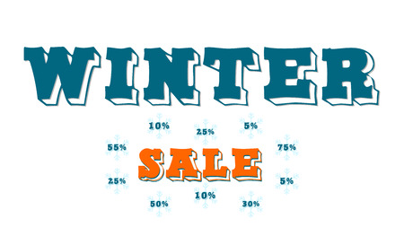 Graphic for winter sale. Red and blue text. Words on snowflakes. Graphics for an advertising banner, a website or a poster.