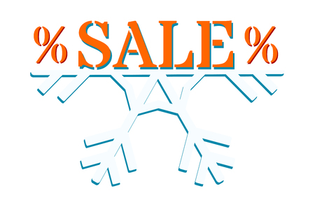 Winter sale - orange and blue graphics for an advertising banner, a website or a poster. Text on half of a snowflake.