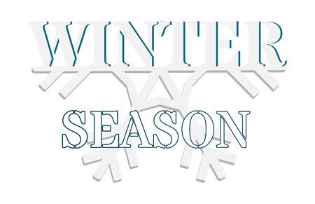 Grafik zum Start in die Wintersaison. Text auf der Hälfte einer Schneeflocke. Grafiken für Werbung, Poster, Website, Banner. Vektorgrafik