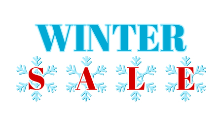 Winter sale - graphics for an advertising banner, a website or a poster. Numbers on a snowflake. Text surrounded by snowflakes. Orange and navy graphics.