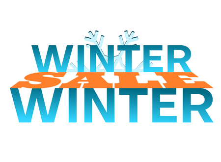 Winter sale - orange and blue graphics for an advertising banner, a website or a poster. 3D orange word between words. Text on a snowflake background.