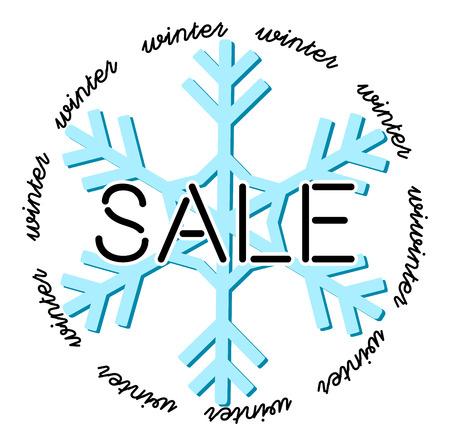 Winterschlussverkauf - Grafiken für ein Werbebanner, eine Website oder ein Poster. Text auf einer Schneeflocke. Schneeflocke, umgeben von Text.