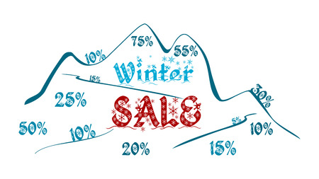Graphic for winter sale. Outline of the mountain. Text on a background of the mountain. Information about prices cuts. Advertising graphics.
