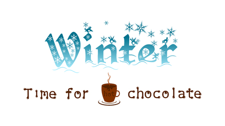 Advertising of hot chocolate. Big word Winter, a cup of hot chocolate and a snowflakes. Ilustração