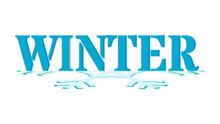 Winter - blue graphics for an advertising banner, a website or a poster. Text on half of a snowflake. Graphics for the beginning of the winter.