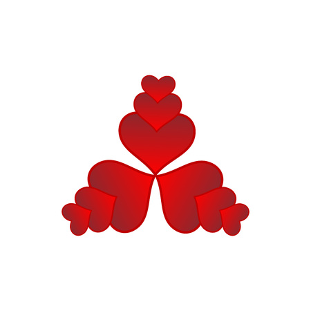 Ten red hearts - a symmetrical graphic layout inscribed in a triangle.Hearts in various sizes. Graphics   for greeting card, website, valentina card, greeting card, gift.