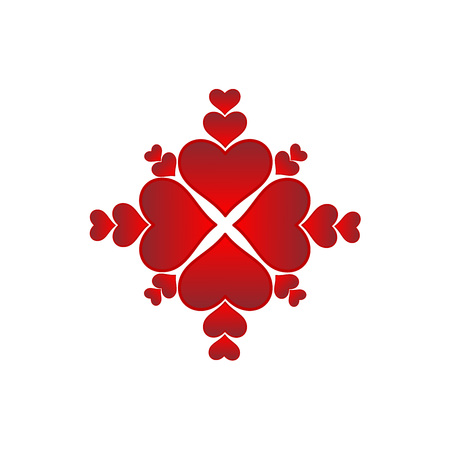 Twenty red hearts - a symmetrical graphic layout with four big hearts. Hearts in various sizes. Four large hearts and sixteen smaller hearts. Graphics for greeting card, website, valentina card, greeting card, gift.