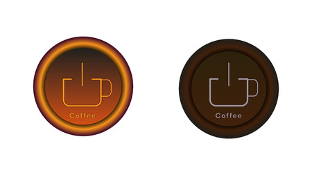 Button on and off. A cup of coffee illuminated in light brown. Graphics for the website or application. The button in the switched version is highlighted in brown and gray in the disabled version. Ilustração