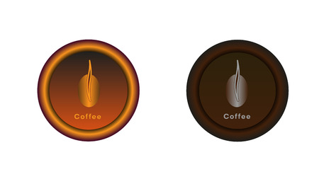 Button on and off. Coffee bean illuminated in light brown. Graphics for the website or application. The button in the switched version is highlighted in brown or gray and dark brown in the disabled version.