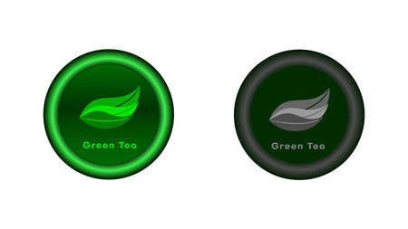 Button on and off. A green tea leaves illuminated in light green. Graphics for the website or application. The button in the switched version is highlighted in green and gray in the disabled version.