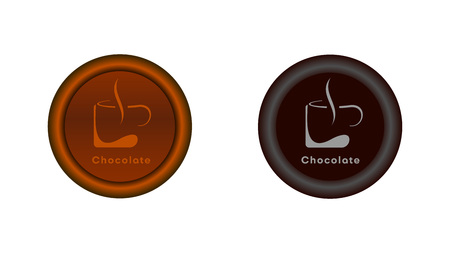 Button on and off. A mug of hot chocolate illuminated in light brown. Graphics for the website or application. The button in the switched version is highlighted in brown and gray in the disabled version.